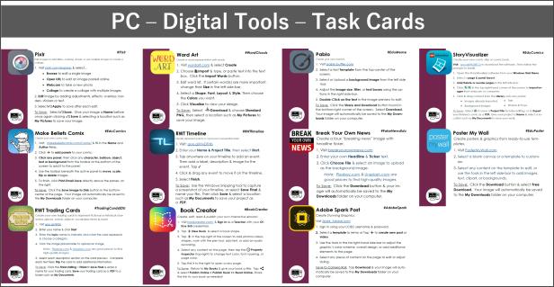 PC Digital Tools Task Cards